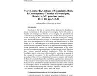 Marc Lombardo, Critique of Sovereignty..